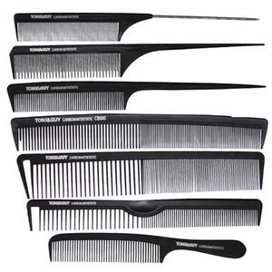 7 Pcs / set Marca cabeleireiro Pente na cor preta, resistente ao calor antiestática e carbono corte de cabelo Comb, Rabo TG-96 Para Salon