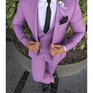 Popüler Tasarım Damat Smokin Bir Düğme Notch Yaka Groomsmen Best Man Suit Düğün Mens Suits (Ceket + Pantolon + Yelek + Kravat) J479