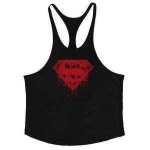Кровавый хлопок мужские топы Бодибилдинг Стрингер 1 см плечевой ремень тренажерный зал жилет фитнес сексуальные тренировки футболка