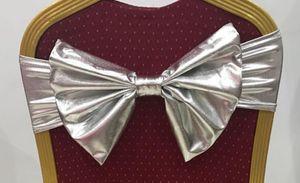 Precio de gota de fábrica Satin Chair Sash Pajaritas Para banquetes Decoración de la boda Suministros Ventas al por mayor Partido Butterfly Craft Silla cubierta