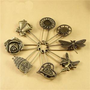 100 шт. Antique Bronze Vintage Hijab Pins / Brooch Pins / Безопасность Находки Стимпанк 8 Стиль для варианта