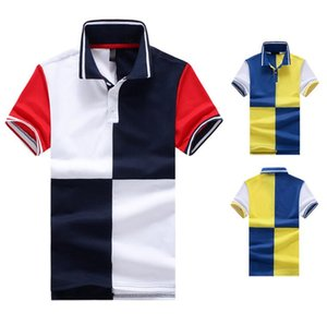 Mens Moda Yaz Kısa Kollu T-Shirt Spor İş Casual Tees Patchwork Mens Polos Tops