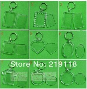 50 pçs / lote Em Branco Chaveiros de Acrílico Inserir Foto chaveiros de Plástico Quadrado Retângulo coração circular