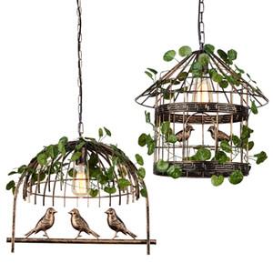 Retro Industrial Wind Dining Room Green Plant Pendant light Music Restaurant Bar Cafe Pendant lamp Creative Bird Lantern Plant hanging light