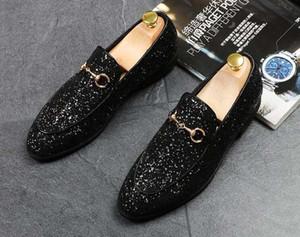 Роскошные Новые Моды для Мужчин блестки блестки металлические пряжки остроконечные туфли мужские золотые Формальные Туфли Для Возвращения домой Свадьба Бизнес Рождественский подарок