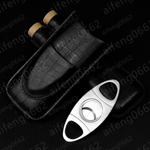 Mode classique prix de gros 2 Tube Cigar Holder Case crocodile noir modèle en cuir Cutter Fit COHIBA cigare