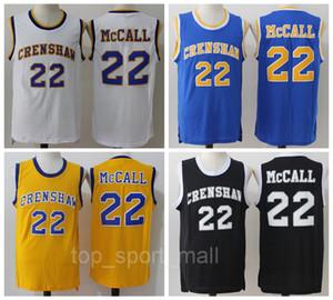 2016 CRENSHAW 22 Quincy McCall Jersey Filme Flint Trópicos Semi Pro Quincy McCall Basquete Camisas Do Esporte Respirável Amarelo Branco Preto Azul