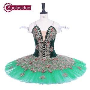 Mujeres Dark Green Ballet Tutu Don Quijote Performance Stage Wear Adult Ballet Dance Competition Costumes Girls Ballet Skirt Apperal