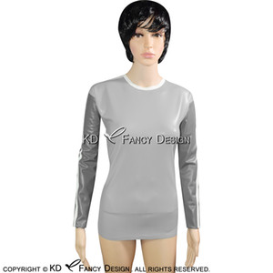 Silver With Pewter And White Striped Sexy Latex Shirt Long Sleeves Rubber Clothing Tee Shirt YF-0113