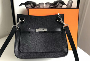 3A Qualität Jipsiere 28cm Unisex Taurillon Clemence Leder Schultertasche, Frontklappe Verschluss mit Drehverschluss, kommt mit Staubbeutel-Box