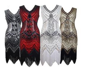 Paillettes strass Tassel Design Mini Robe moulante à porter pour femme irrégulière Parti robe de soirée Fash col en V manches gaine Robe à volants