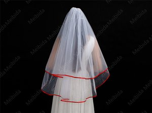 Simple style New Bridal veil Red satin band edging Beautiful work White ivory Wedding veil cheap sale with comb