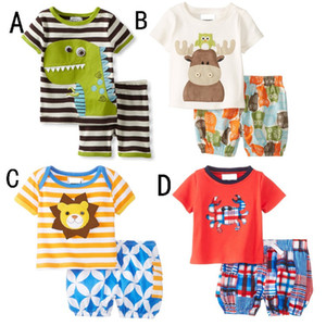 INS Summer Baby Cartoon dinosaur ciervos 2pcs trajes conjuntos top + shorts niños niñas trajes de cangrejo Ropa de bebé ropa de niños ropa de niños