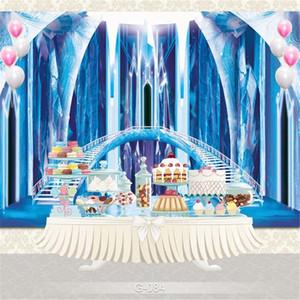Blu congelata Palazzo principessa Girl Backdrop Fotografia stampato Scale Colonne di ghiaccio Bambini di compleanno dei bambini Photo Booth Sfondo