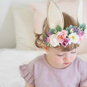 Bebê Headband Flower Crown cabelo faixa de Meninas Páscoa 3D Headwear acessórios de cabelo do bebê da flor de Rosa D0823