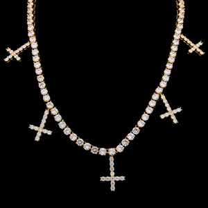 European and American hip-hop zircon one row Necklace Cross Pendant personality male Necklace