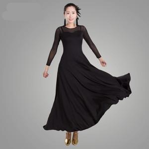 Mujeres Moderno Waltz Tango Smooth Ballroom Dance Vestido Vestido de baile estándar de manga larga Ropa de baile
