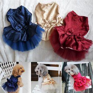 Vêtements Pour Chiens Chiot Chiot Fête De Mariage Dentelle Robe Vêtements Bow Tutu Princesse Robe Pet Vêtements