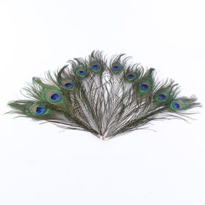 Eleganti materiali decorativi per matrimoni Real Natural Peacock Feather Beautiful Feathers da 25 a 30 cm Accessori Performance
