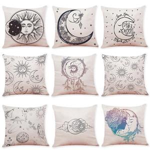Decorativo Lance Capas de Almofada de Linho Sol Lua Padrão de Impressão Sofá Fronha Para Decoração de Casa de Moda Sem Inserir 7 h ff