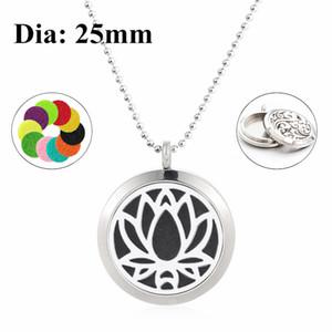 Flower of life 25mm Twist Screw Aromatherapy Essential Oil Locket 316L Collar de difusor de perfume de acero inoxidable (cadena y almohadillas de 60 cm libres)