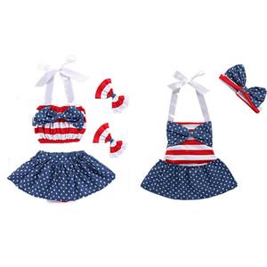 Новорожденных девочек американский флаг наряды INS детей Звездные полосатые костюмы 2018 летний бутик детской одежды Наборы C4304
