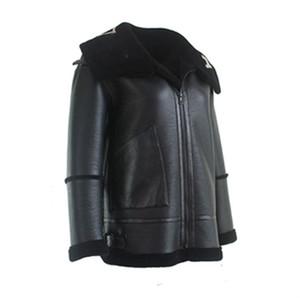 Moda Ceket Erkek Yaka Mektupları LOGO Kürk Fermuar Deri Ceket Siyah Tek Parça Ceket Erkekler Ve Kadınlar Çift Yüksek Kalite HFBYJK083