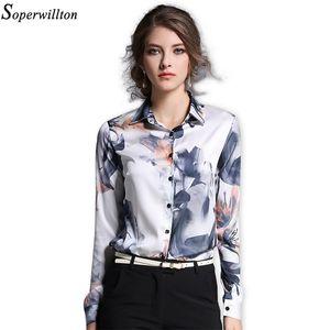 Soperwillton 2018 Primavera Vintage Blusas de mujer Gasa Blusa floral de manga larga Tallas grandes Tops Collar doblado # A723