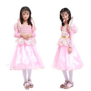 Disfraces del Día del Niño Niñas Lotus Fairy Pink Elegante Cintura Bow Princesa Vestido Performance Ropa Verano Pretty Niños Ropa