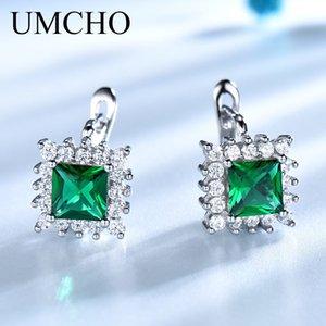 UMCHO Luxury 925 joyas de plata esterlina creado Esmeralda Birthstone Clásico Clip pendientes para mujeres elegantes regalos de cumpleaños nuevo Y1892905