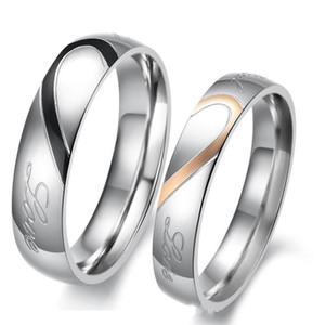Его Hers Пары Гравированные Титановое Кольцо Романтическая любовь слышать кольца Пары Обручальное Обручальное Кольцо Набор / Кольцо