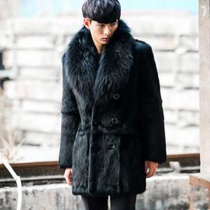 Clobee мужчины искусственного меха пальто 2017 Мужская зима шквал искусственного меха куртка двубортный большой меховой воротник старинные роскошные теплое пальто M767