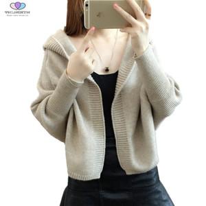Tnlnzhyn 2018 Nuevo Otoño Mujer Suéter Cardigan Mujeres Con Capucha Corto de Punto Cardigan Casual Bat Sleeve Sweater TNLNZHYN E492