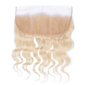 Cabello humano peruano # 613 Bleach Blonde Lace Frontal Closure 13x4 Free Middle Three Part Blonde Full Lace Frontal