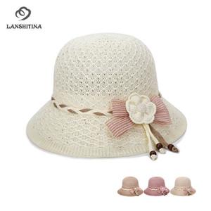 De Buena Calidad Sombrero de punto hecho punto de las mujeres del verano Hollow Sombrero Sunhat femenino transpirable de la madre para Quinquagenarian GH-713
