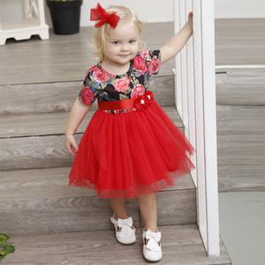Bebek kız giysileri utu Dantel Çiçek elbise çocuk Çiçek baskı Tül Prenses elbiseler 2018 yaz Butik Çocuk Giyim