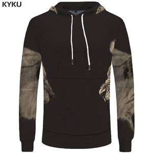 KYKU Lion Hoodies Men Tiger Sweatshirts Sweatshirt Animal 3d Hoodies Pocket Big Size Hoddie Cool New Casual Male