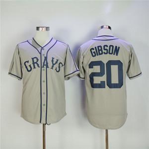 20 Josh GIBSON Jersey Homestead Greys Negro League Button Grau Herren Stickerei GIBSON Baseball Jerseys Billig