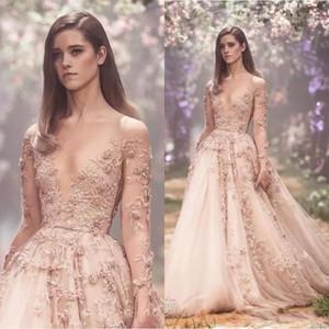 Blush 3D Floral Manches Longues Robes De Bal 2018 Paolo Sebastian Dentelle Applique Princesse Puffy Jupe Pays Jardin Robes De Soirée BA8183