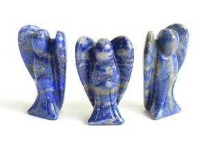 1,5 pulgadas Altura pequeño tamaño natural cayó las piedras talladas de cristal Chakra curativo de Ángel Guardián linda Ala Figurita