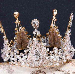 레트로 수제 크리스탈 퀸 여왕 왕관 웨딩 고삐 headwear