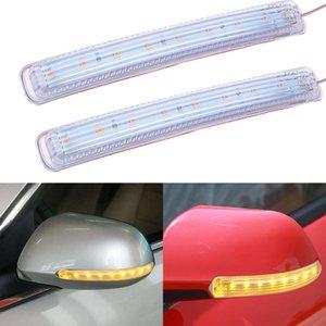 2X السيارات مرآة الرؤية الخلفية مصباح المؤشر لينة وامض FPC العالمي الأصفر العنبر مصدر الضوء 2 أجهزة الكمبيوتر الصمام بدوره سيارة Signa