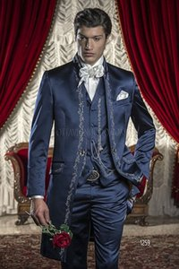 Fashion Embroidery Three Piece Groom Tuxedos Long Navy Blue Men Wedding Suit Bridgroom Men Dinner Prom Wear Customize(Jacket+Pants+Tie+Vest)