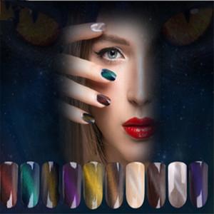 Ojo de gato Imán Brillo de Uñas 12 colores Láser Mágico Camaleón Polvo de Uñas Nail Art Pigmento Decoración Manicura