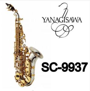 Yanagisawa SC-9937 Pequeño cuello curvado B Níquel plano Plateado Latón Saxofón soprano Marca Instrumento Para estudiantes con estuche