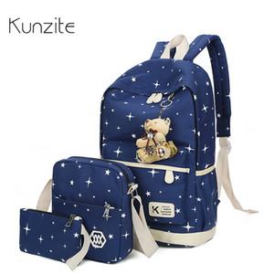 Kunzite 3Pcs / Sets Korean Leinwand Druck Rucksäcke Buch Taschen Adrette Art Schulranzen für Teenager Composite-Bag 2017