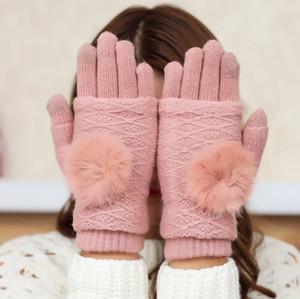 Универсальный красочные зимние теплые сенсорные перчатки кролик волос мяч половина палец перчатки хлопок Емкостный экран проводящие перчатки DHL