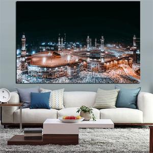 1 шт Современный ислам печати Паломничество в Мекку Священная мечеть Ночной пейзаж Холст стены Картина Нет Рамку