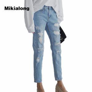 2017 Autumn High Waist Loch zerrissene Jeans für Frauen-Art- und Boyfriend Jeans Femme Denim neun Cent-Hosen Damen-Hosen