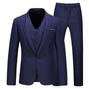 Blazers + Pants + Vest 3 Unidades Set / 2018 Moda de los nuevos hombres Casual Boutique Traje de negocios Trajes Chaqueta Abrigo Pantalones Chaleco